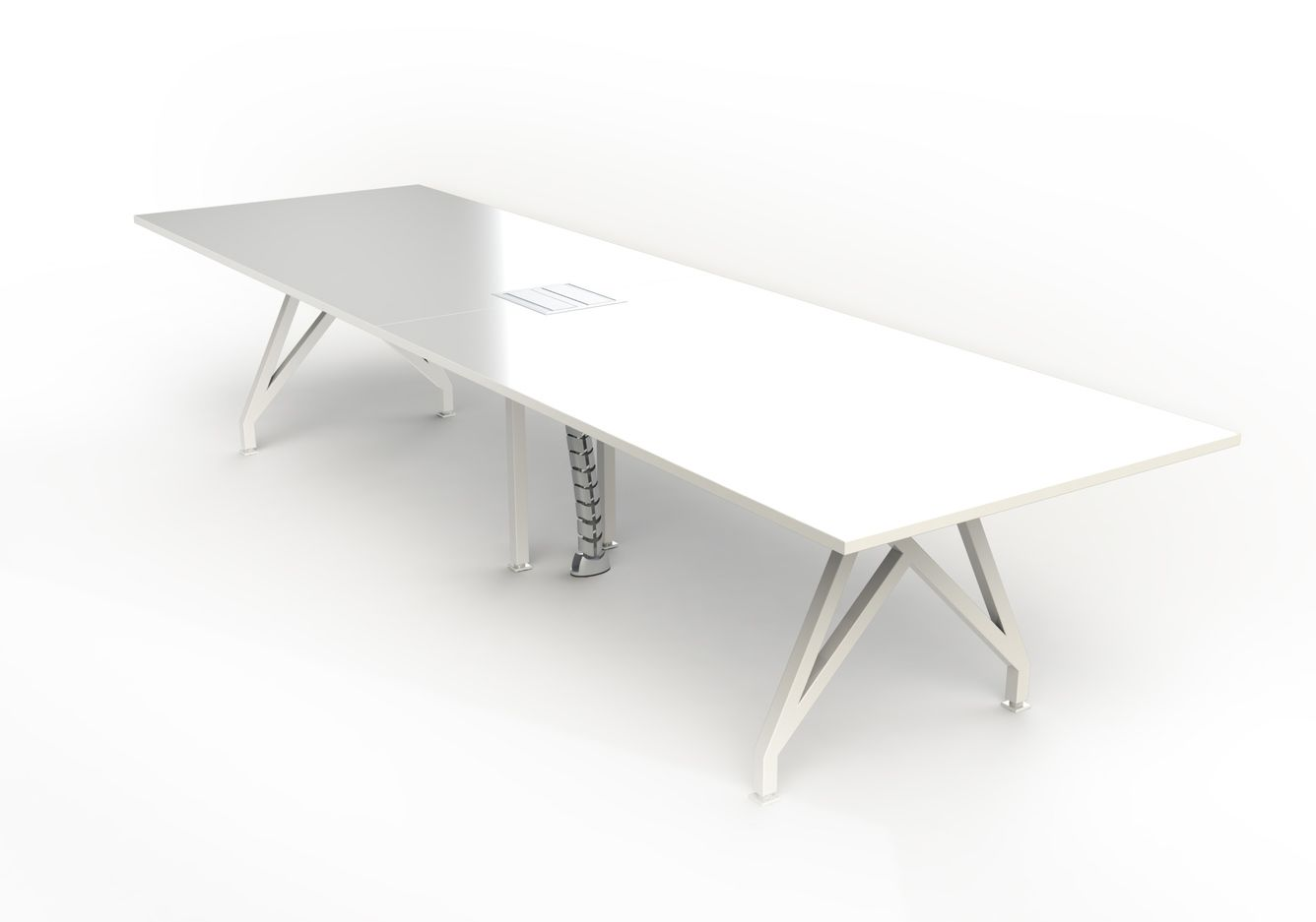 White Laminate Conference Table With Architectural Metal Base Legs .
