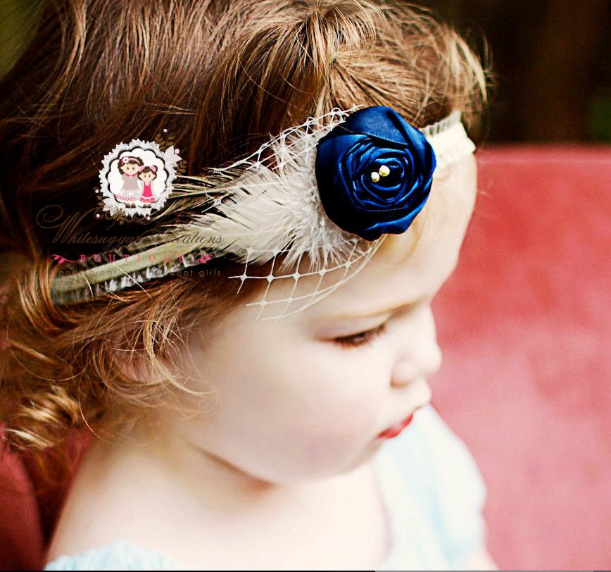 Navy Rose Bud on Ivory Headband - Vintage inspired Photography Prop. $16.95, via Etsy.