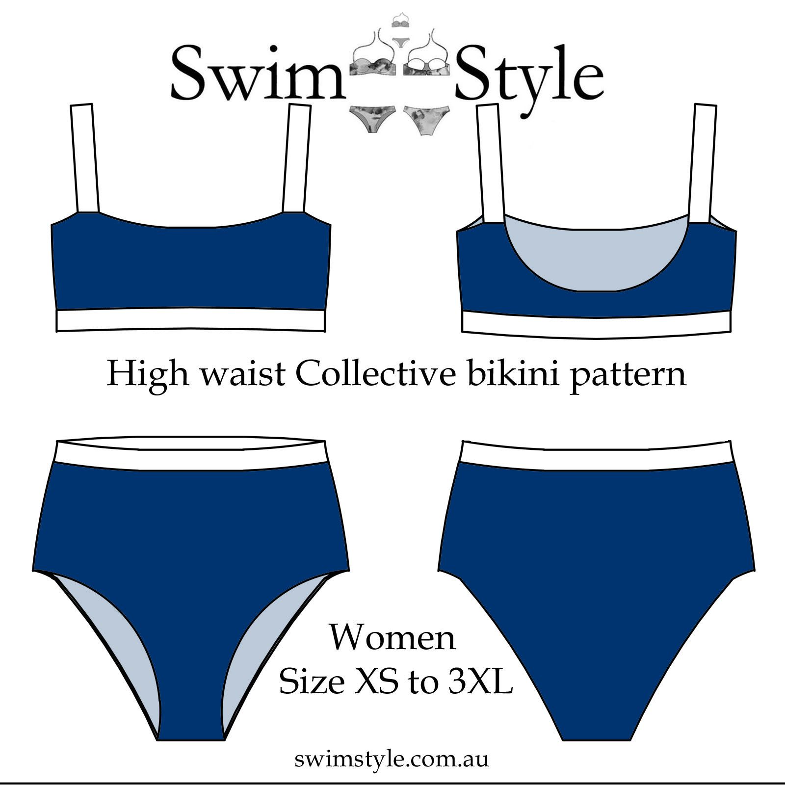 144d8d3af00f0 High waist Collective bikini Women sewing pattern Size XS to 3XL Seamless  finish with wide straps.