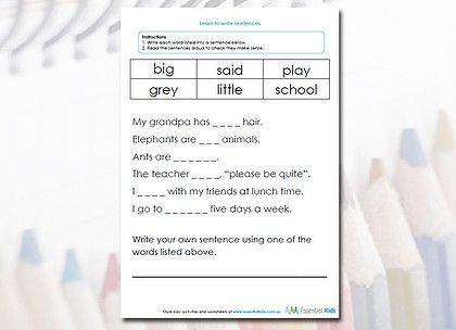 Help your kids learn to write sentences by choosing the word that ...