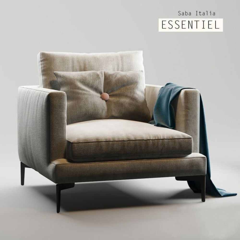 Saba Italia Essentiel Armchair 3d Model In 2020 Armchair Chair