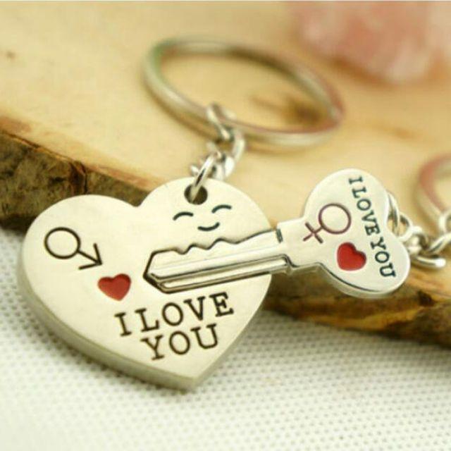 1 Pair I Love You Heart+Arrow+Key Couple Key Chain Keyring Lover Partner Gifts