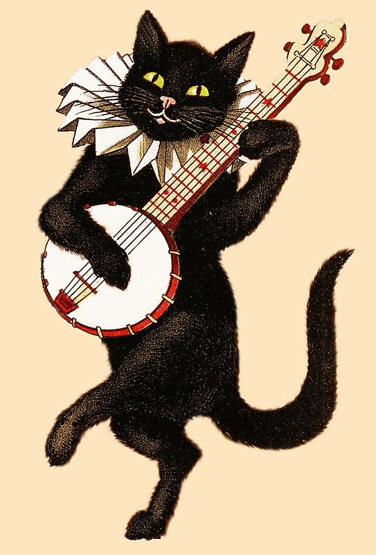 POSTER 1896 BLACK CAT RABBIT PLAYING MUSIC SHOW VINTAGE REPRO FREE S//H