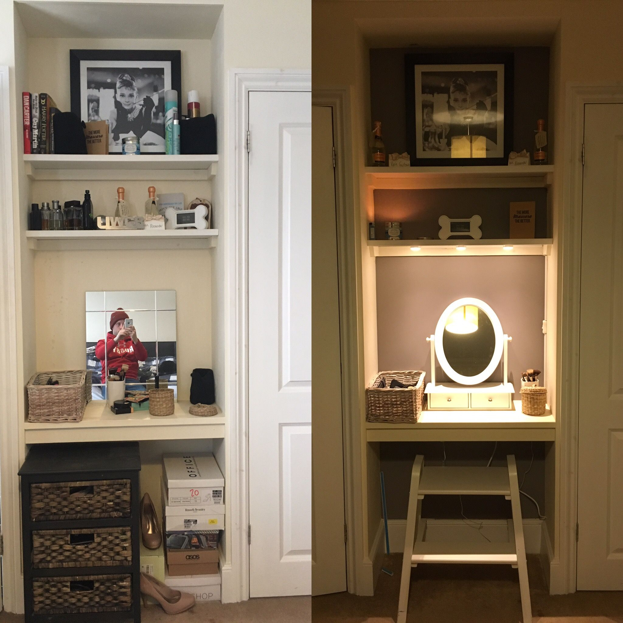 Transformed a small alcove in between wardrobes to make a dressing table.