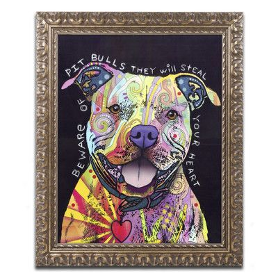 "Trademark Art ""Beware of Pit Bulls"" by Dean Russo Ornate Framed Graphic Art Size: 14"" H x 11"" W x 0.5"" D"