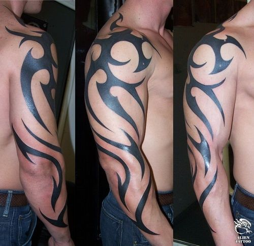 Cool Mens Tribal Arm Tattoo With Front Back And Side View Tribal Shoulder Tattoos Tribal Tattoos Tribal Tattoos For Men