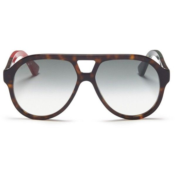 75f88bb257c Gucci Tortoiseshell acetate aviator sunglasses ( 240) ❤ liked on Polyvore  featuring men s fashion