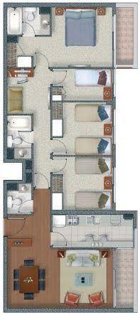 Plano De Vivienda De 4 Dormitorios En 92m2 Planos De Casas Gratis Y Departamentos En Venta Plano De Vivienda Planos De Apartamentos Planos De Casas
