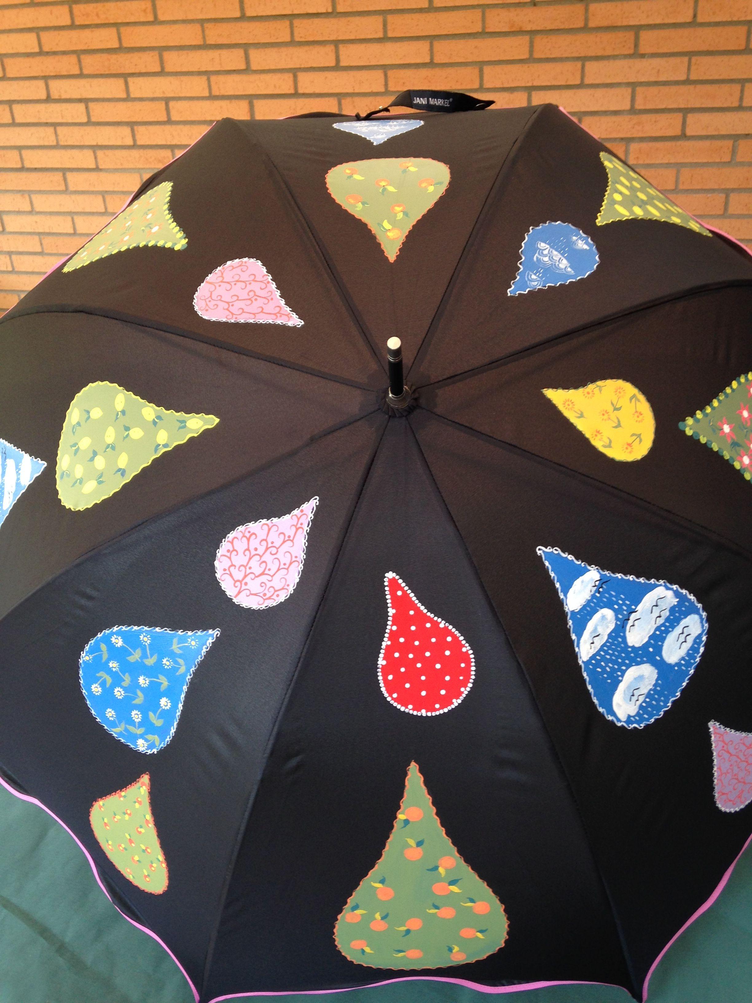 Paraguas Pintado A Mano Con Gotas De Lluvia Paraguas Manualidades Dia De La Paz