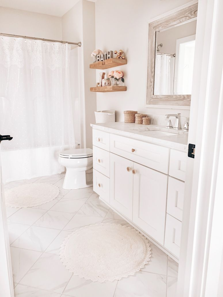 Girl S Bathroom Refresh Neutral Bathroom Decor With Soft Pink Whites And Pink Nina Williams Neutral Bathroom Decor Girl Bathroom Decor Girls Bathroom Simple bathroom for girls