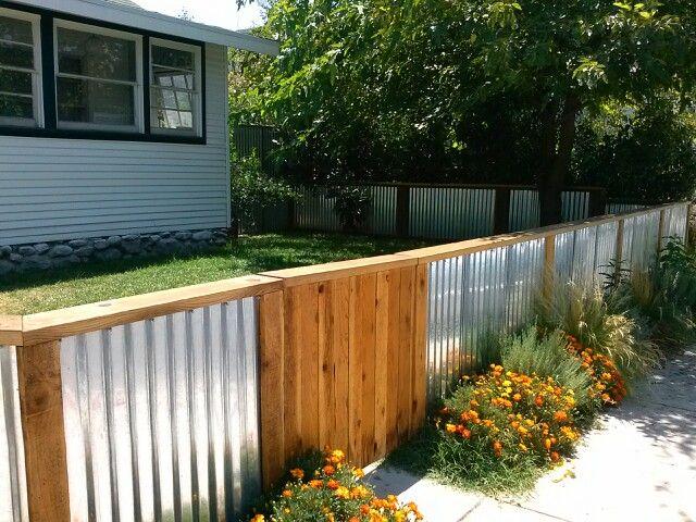 Corrugated Wood Fence Backyard Fences Fence Design Garden Fencing