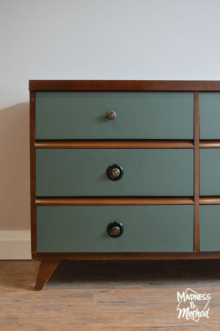 Stained Dresser Painted Drawers