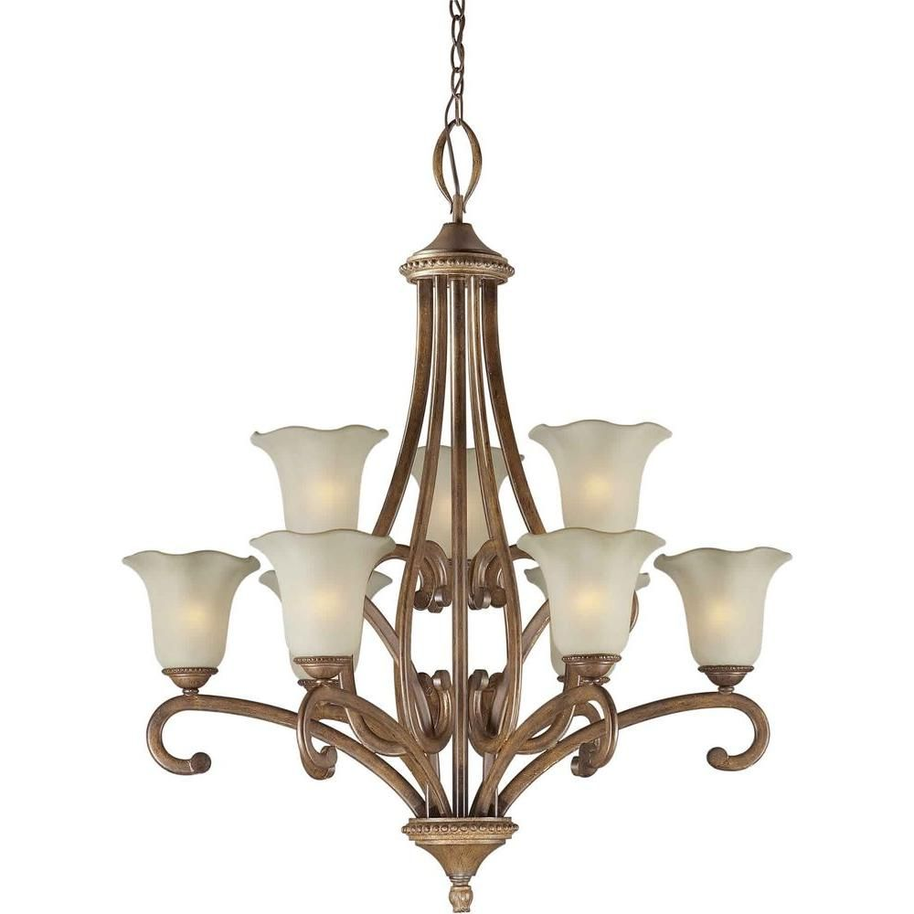Forte Lighting 9 Light Rustic Sienna Bronze Chandelier With Shaded