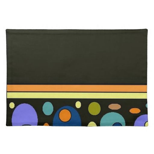 Abstract Circle and Stripes on Black Placemat