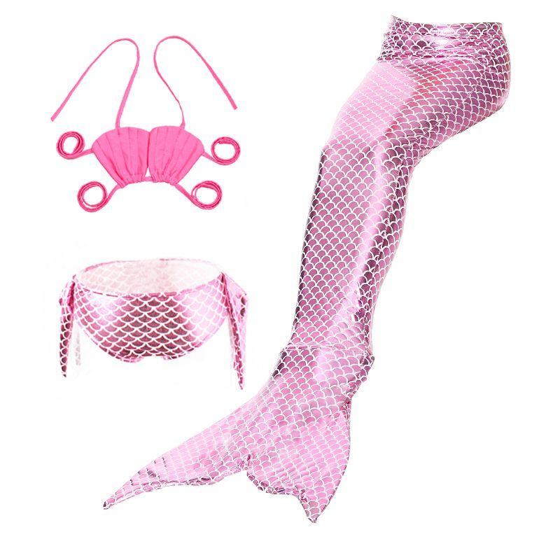 Iekofo Kids Halter Neck Spaghetti Strap Mermaid Tail Cosplay Swimsuit Set Bikinis