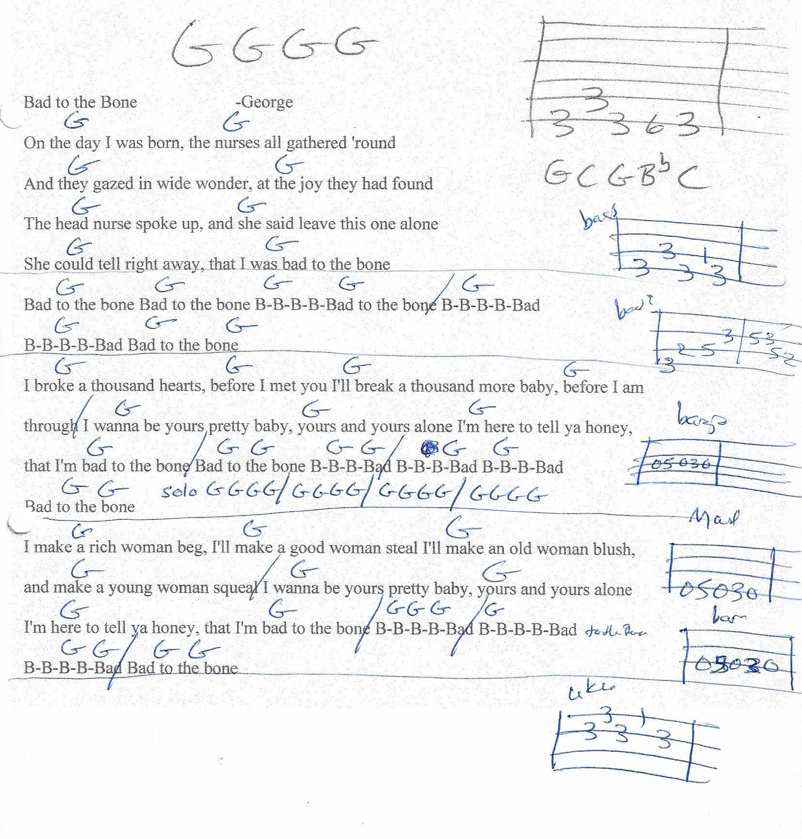 Bad To The Bone George Thorogood Guitar Chord Chart Simplified