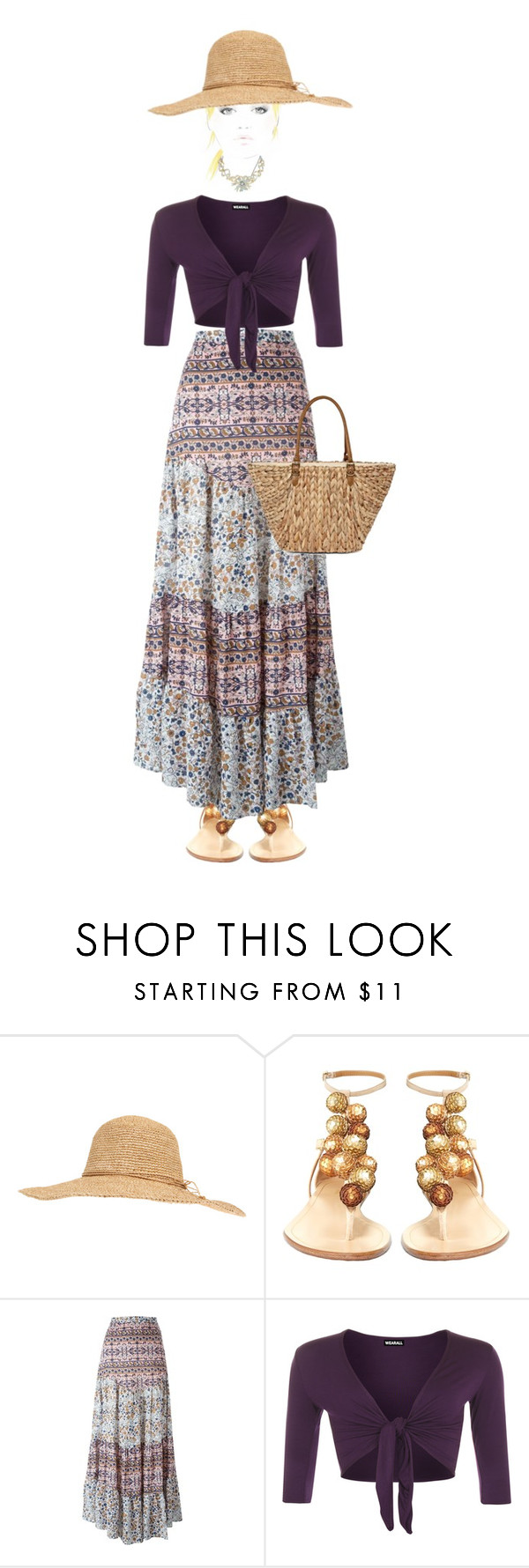 """""""Bohemian doll """" by kim-mcculley ❤ liked on Polyvore featuring Calypso St. Barth, Aquazzura, See by Chloé, WearAll and Straw Studios"""