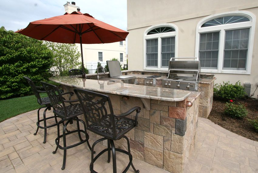 custom built outdoor kitchens big u shape kitchen with curve