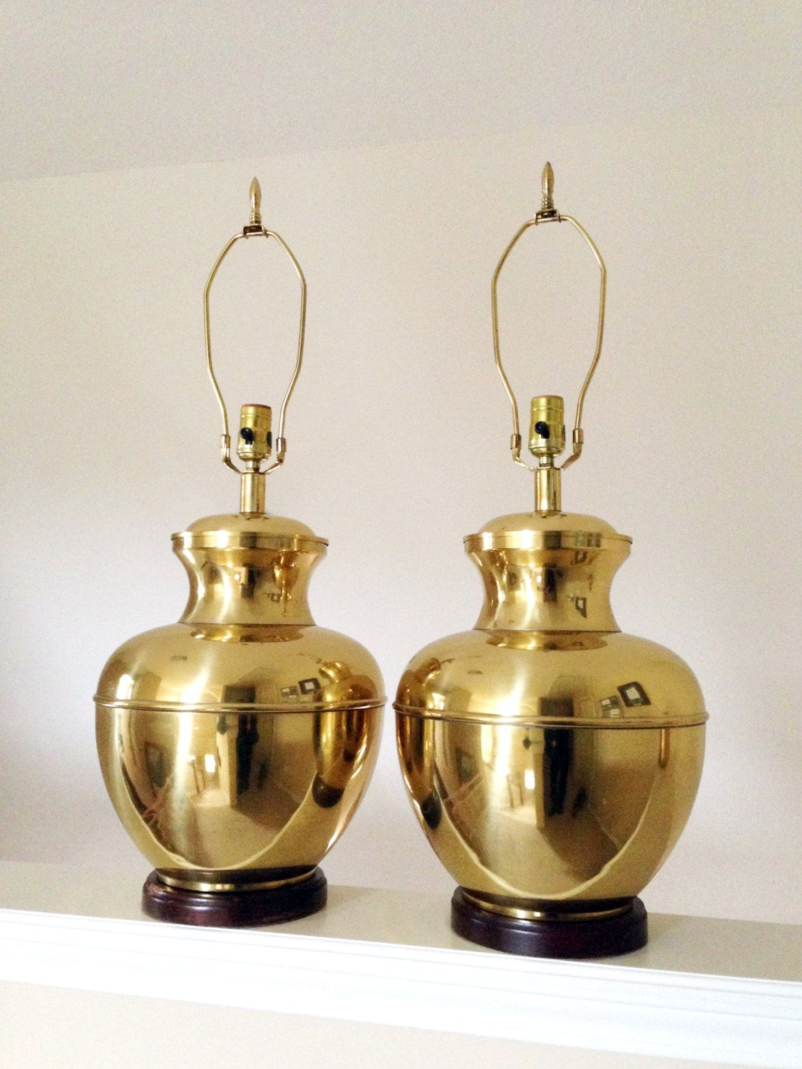 Vintage Brass Etched Urn Lamp - Gold Gunmetal Lighting ...