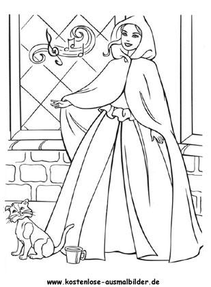Ausmalbild Prinzessin Mit Katze Barbie Malvorlagen Ausmalen Ausmalbilder Prinzessin