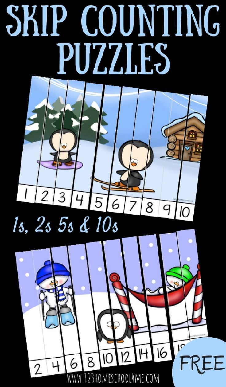 FREE Winter Skip Counting Puzzles for Prek, Kindergarten