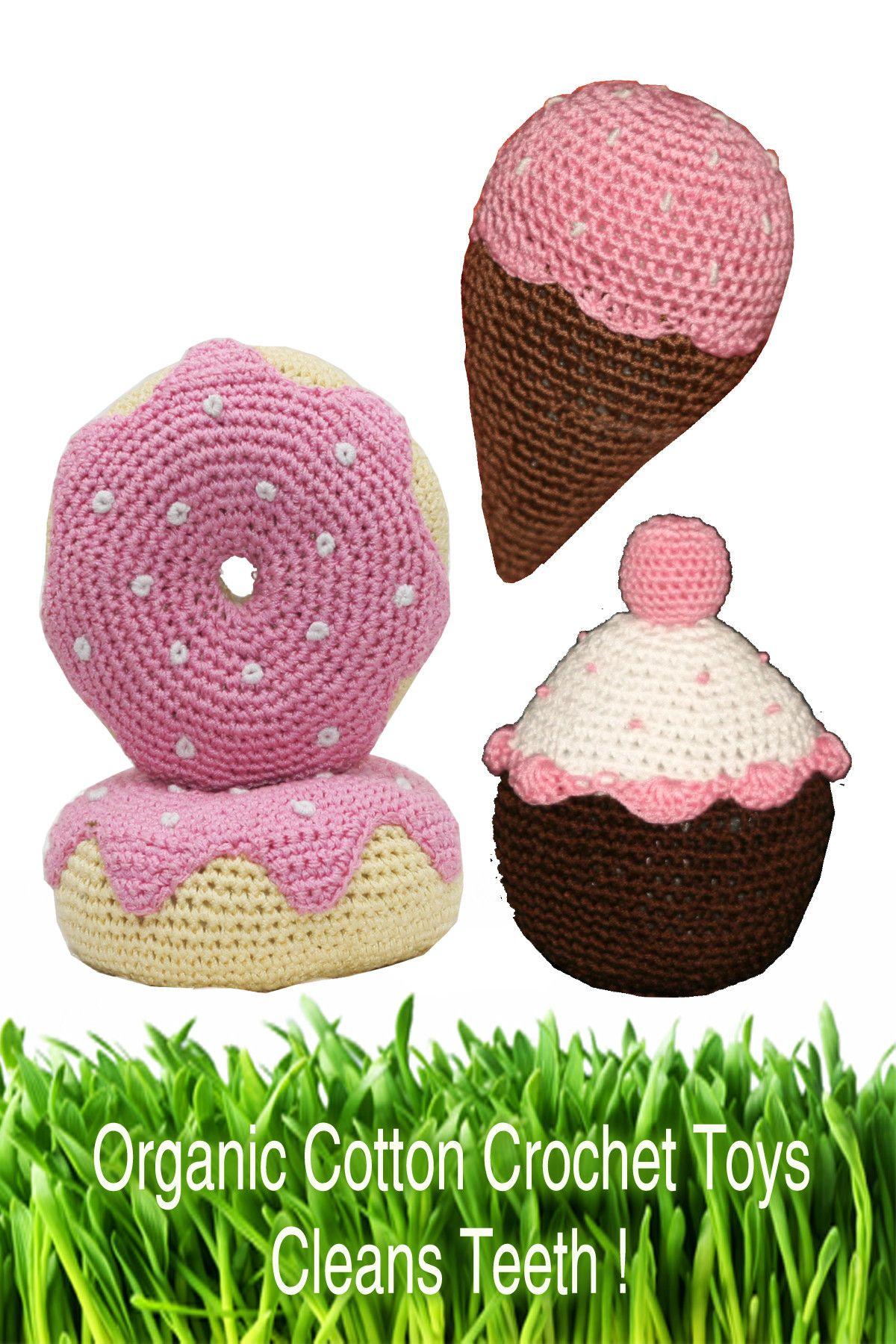 Hip Doggie Organic Cotton Crochet Dessert Dog Toy Set in Pink