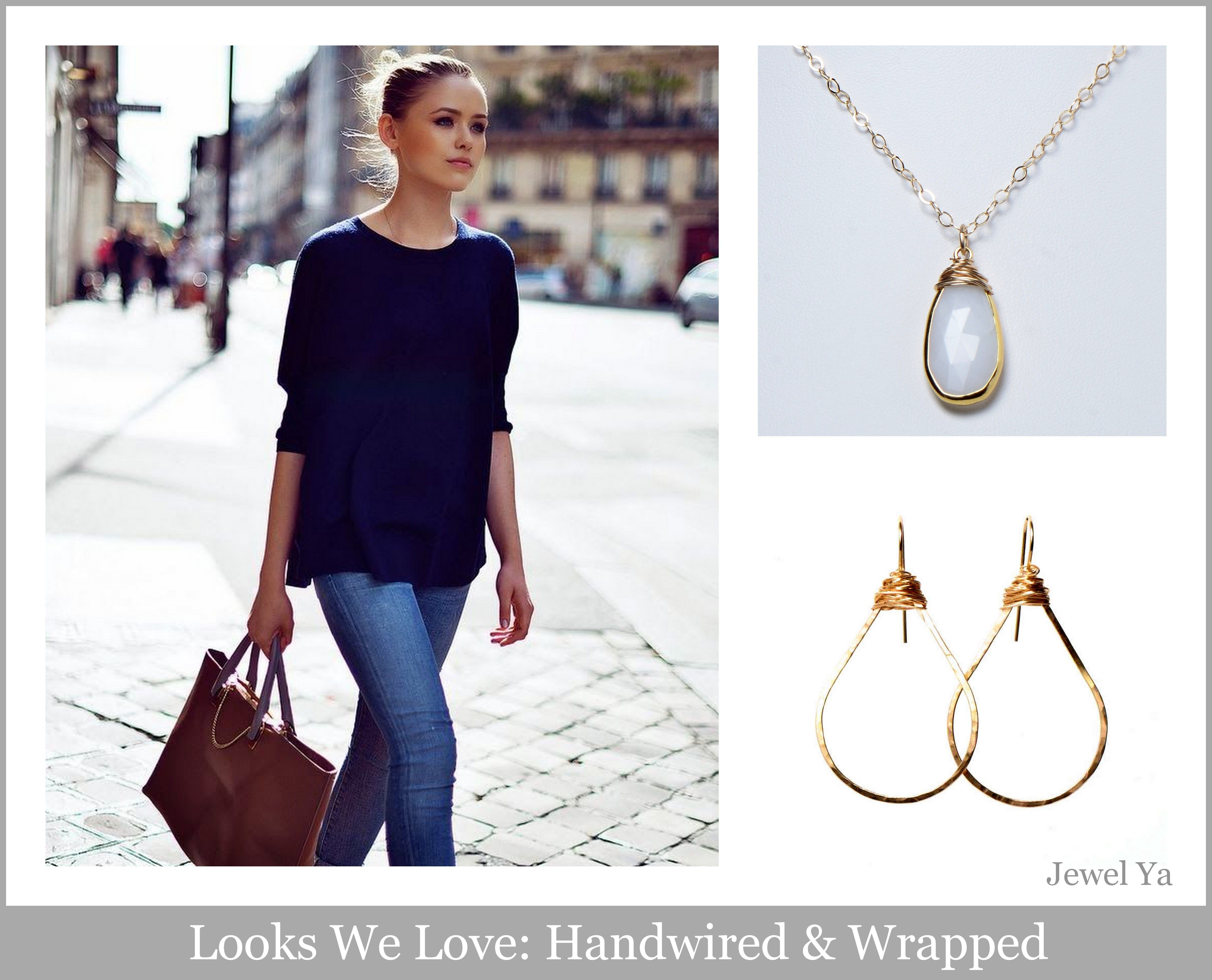 Loving our Jewel Ya heavy handwired & wrapped necklace paired with a simple, yet classic outfit