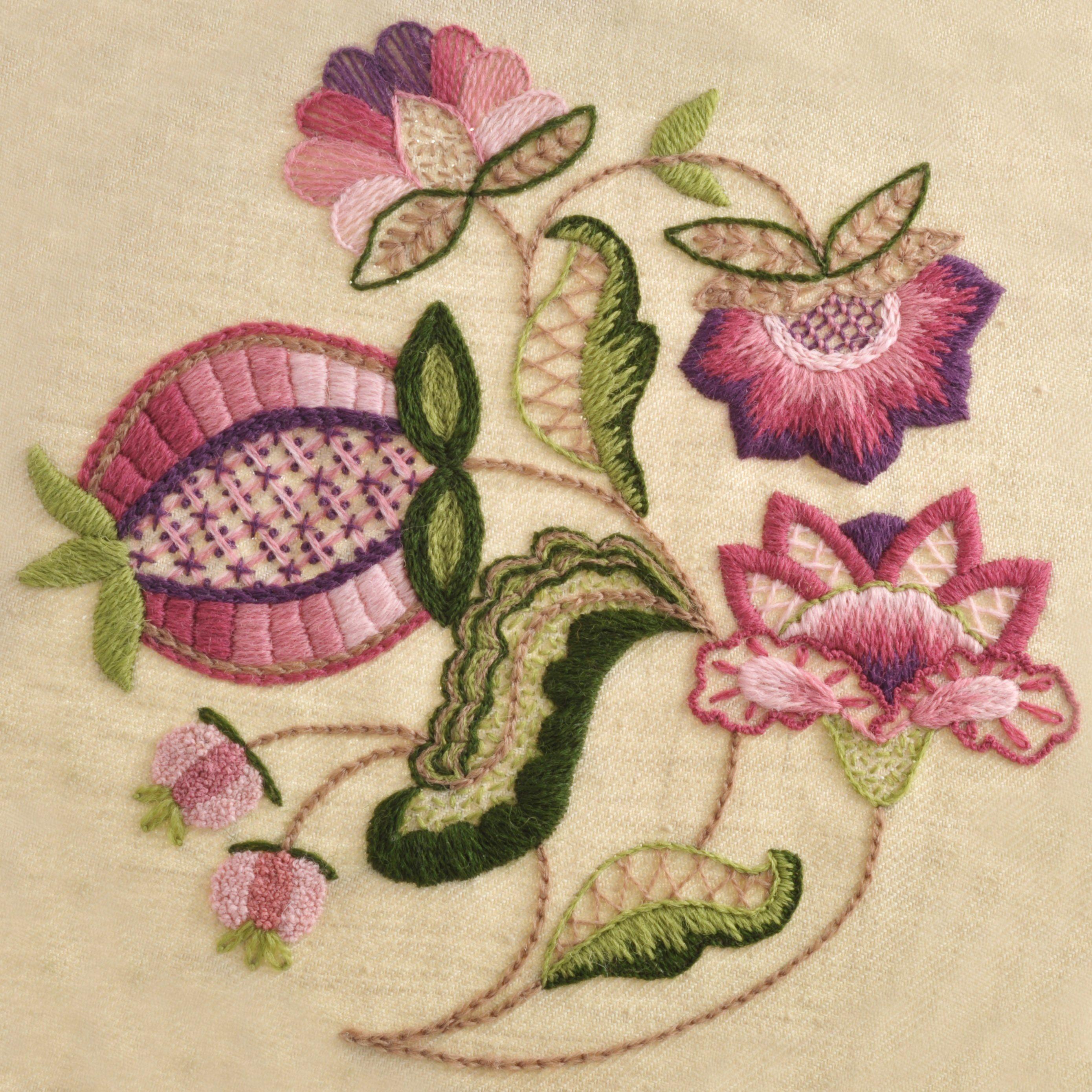 Crewel work pomegranate needlecrafts pinterest embroidery