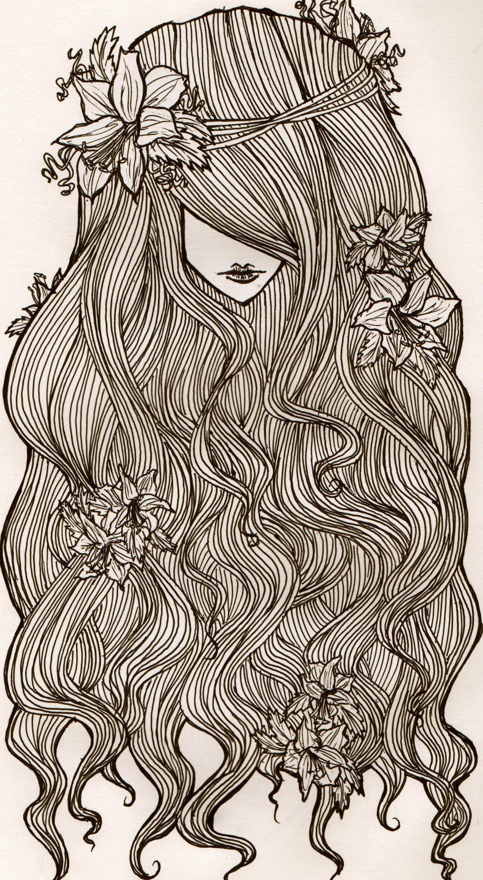 Image gallery mermaid hair - Flowers And Curls I Was Practicing Hair Art Drawing