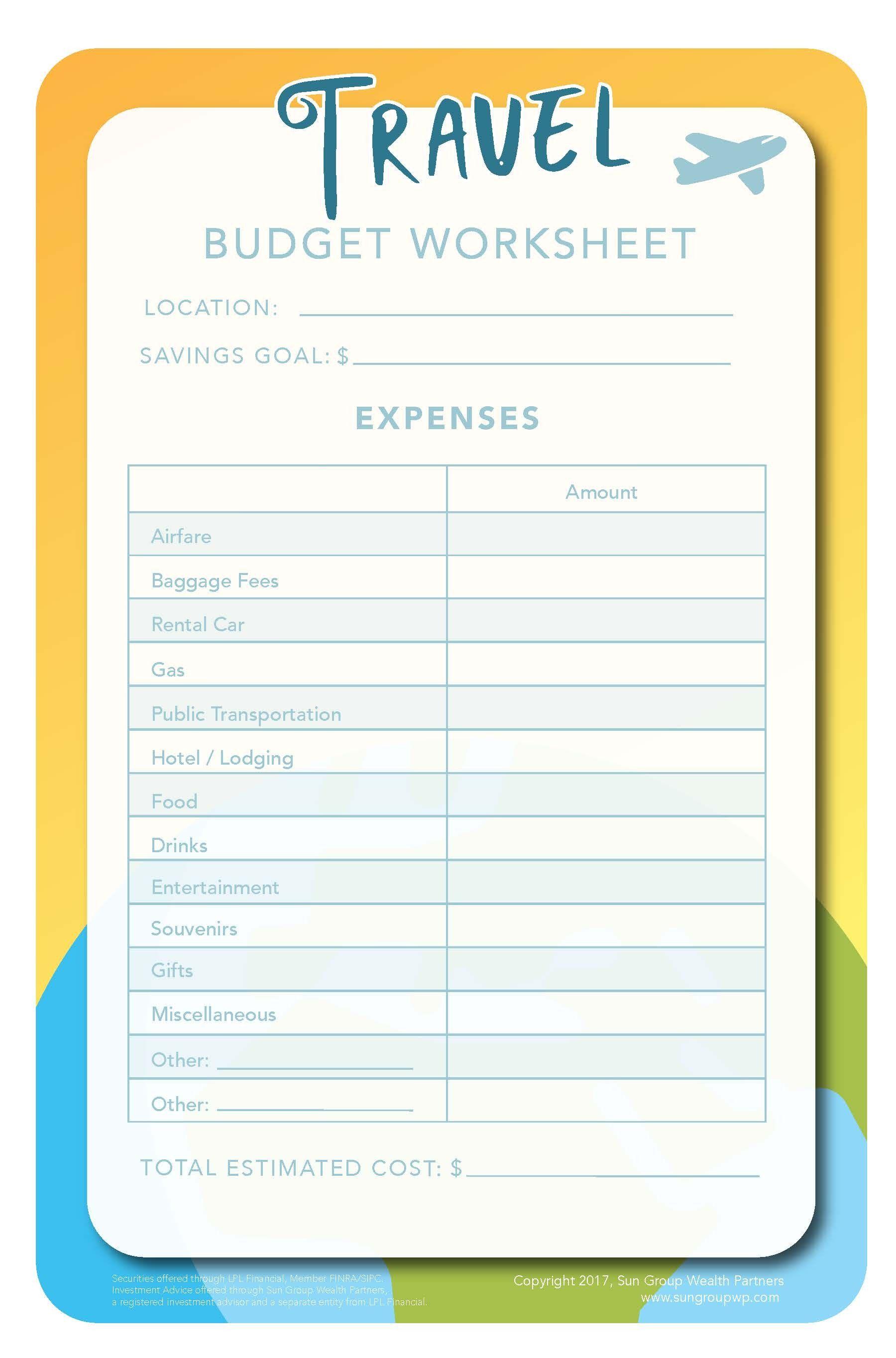 New Travel Budget Worksheet Xlstemplate Xlssample Xls