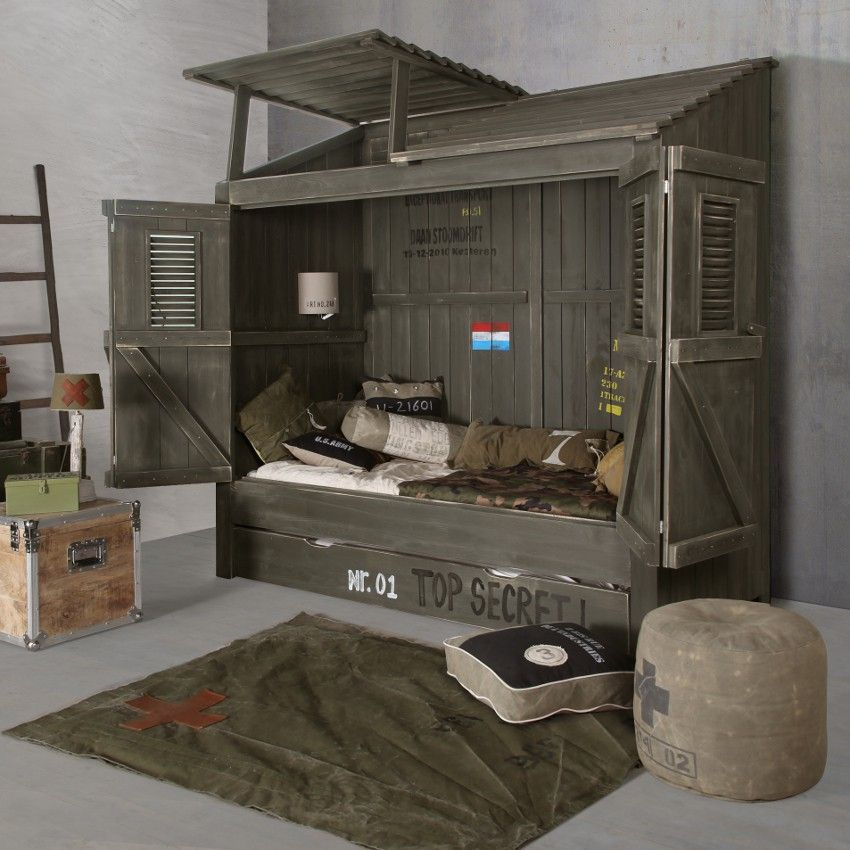 Kidsfactory bedstee cabana army pinteres for Army themed bedroom ideas