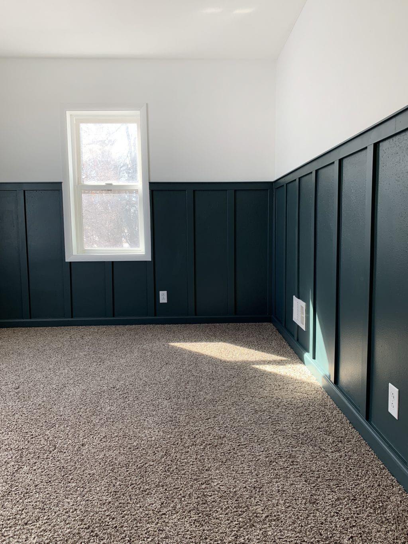 Adding A Rich-Toned Board and Batten to a Bedroom #boardandbattenwall