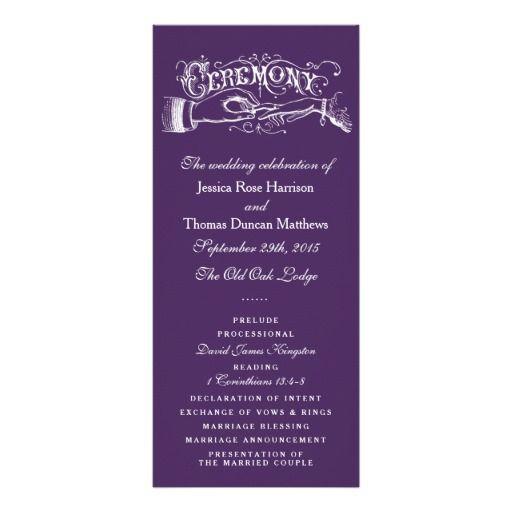 Elegant Purple And White Wedding Ceremony Programs