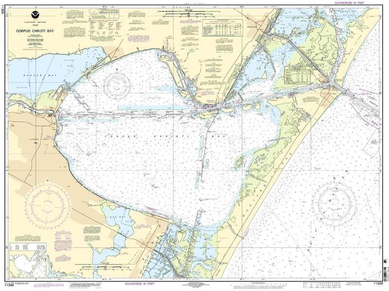 Corpus christi bay nautical map chart nautical chart