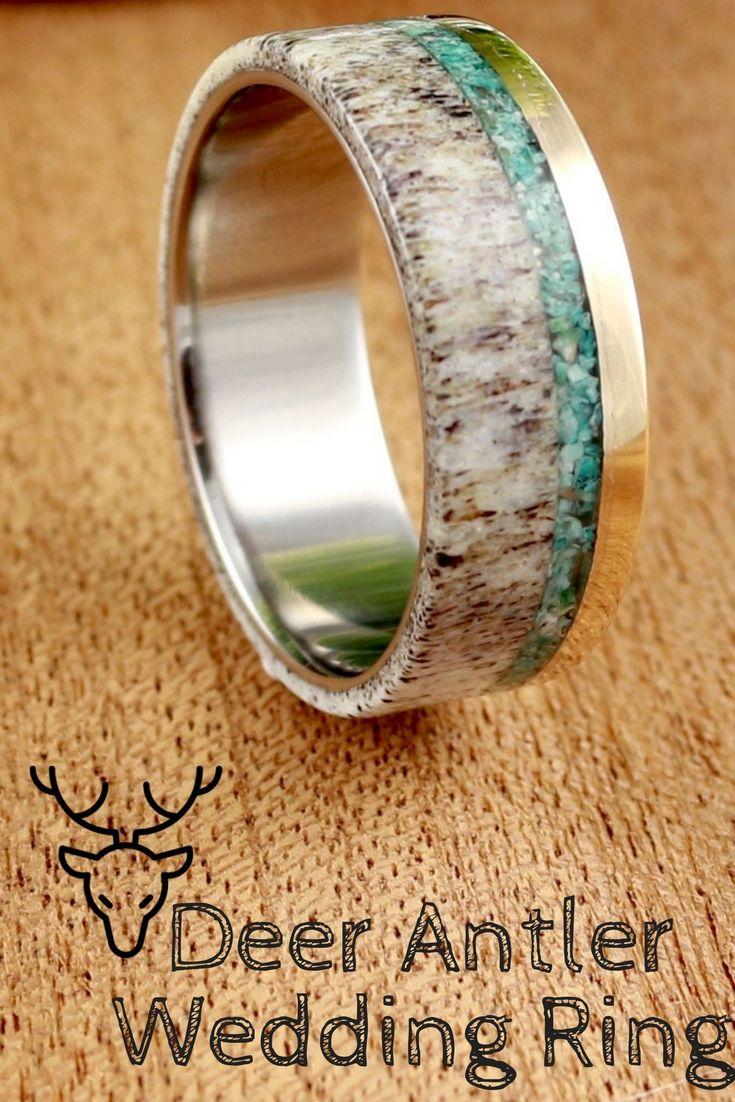 Handmade Deer Antler Wedding Rings These Deer Antler Wedding Rings Are Made With Only Deer Antler Wedding Rings Antler Wedding Rings Mens Wedding Rings Unique