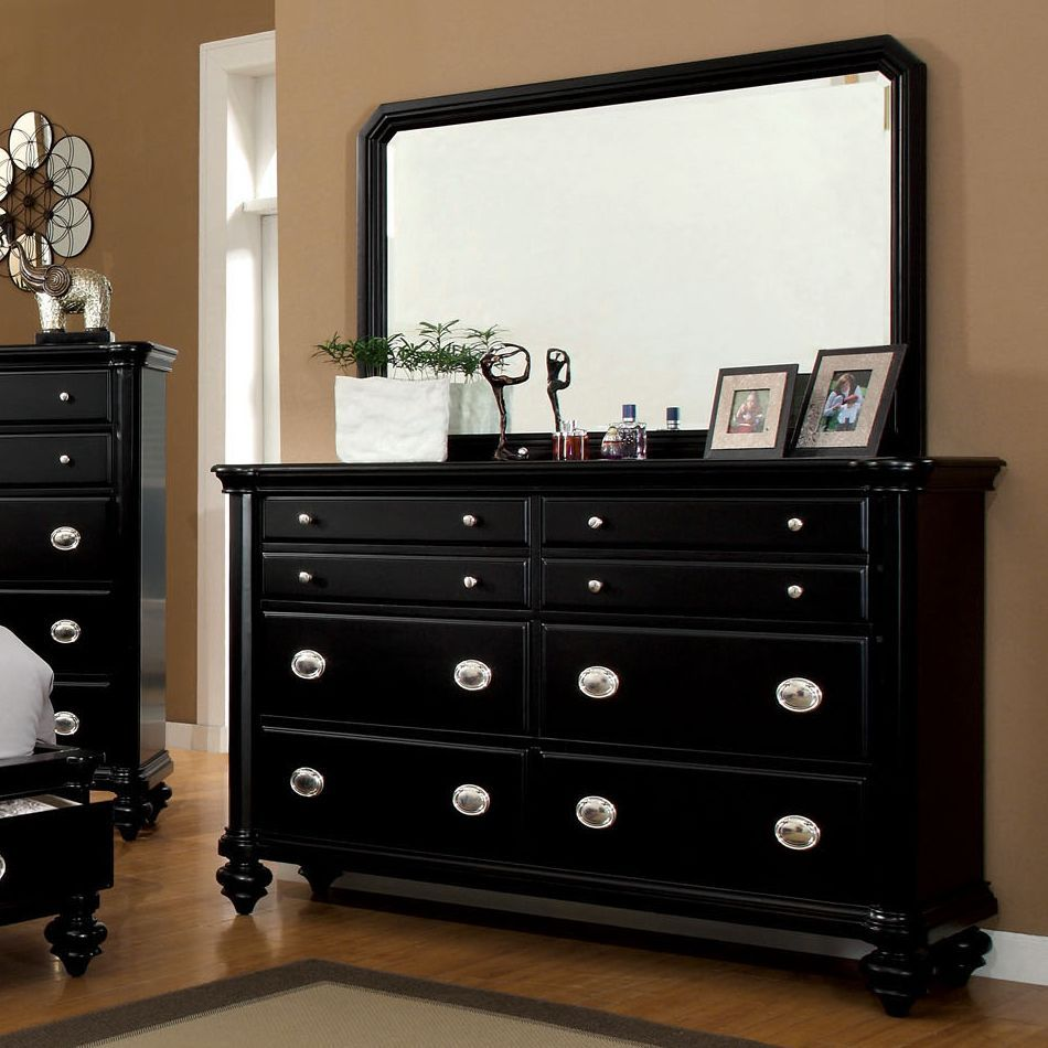 Furniture Of America Felis Black Dresser With Mirror