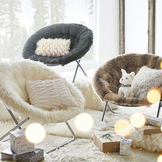 Baloo Faux Fur Hang Around Chair Pbteen