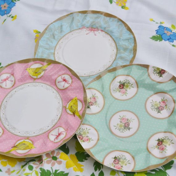 12 Vintage Dots and Bows Cute Party Paper Plates by oohluckyhen ...