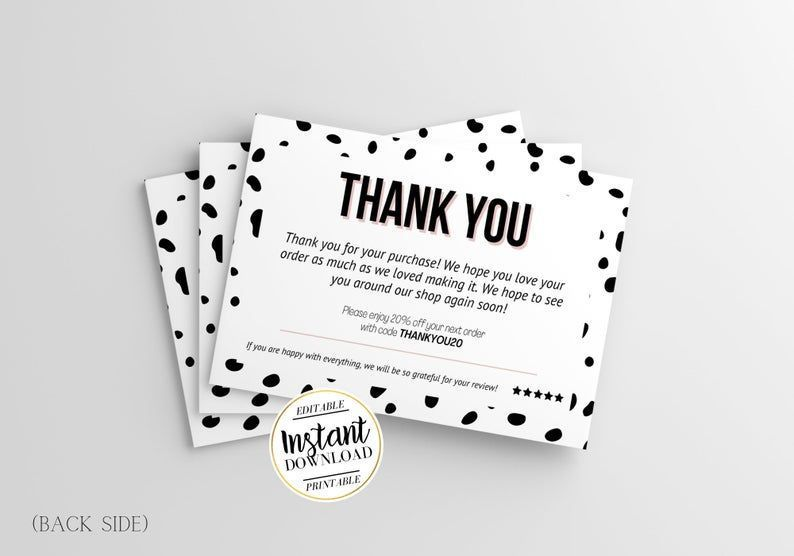 Diy Aesthetic Thank You Card Template Dot Thank You Cards Etsy Business Thank You Cards Thank You Card Template Thank You Cards