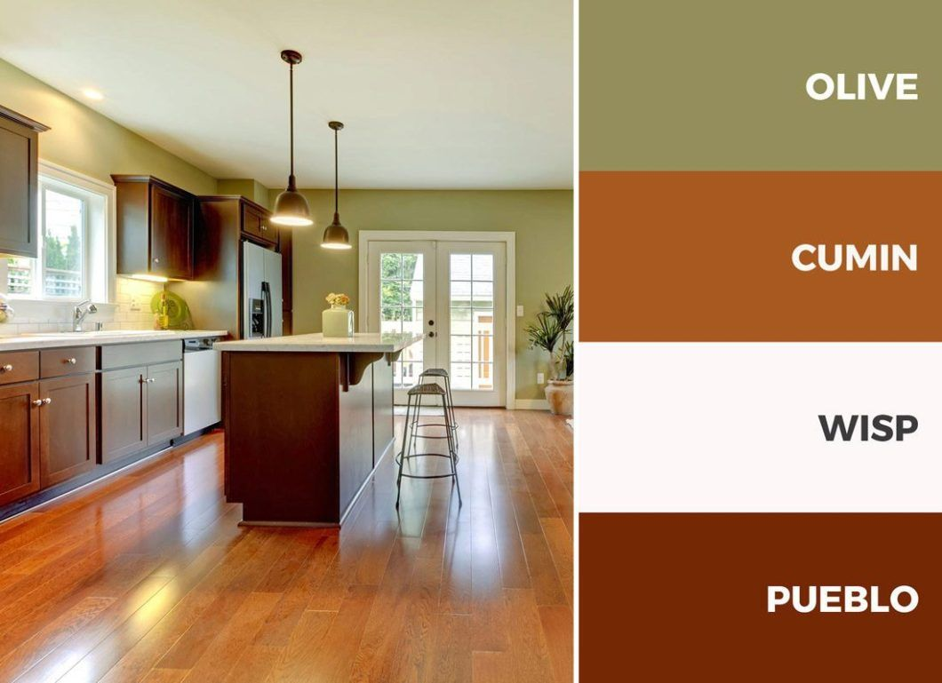 Captivating kitchen color schemes warm palette brown and - Kitchen living room color combinations ...