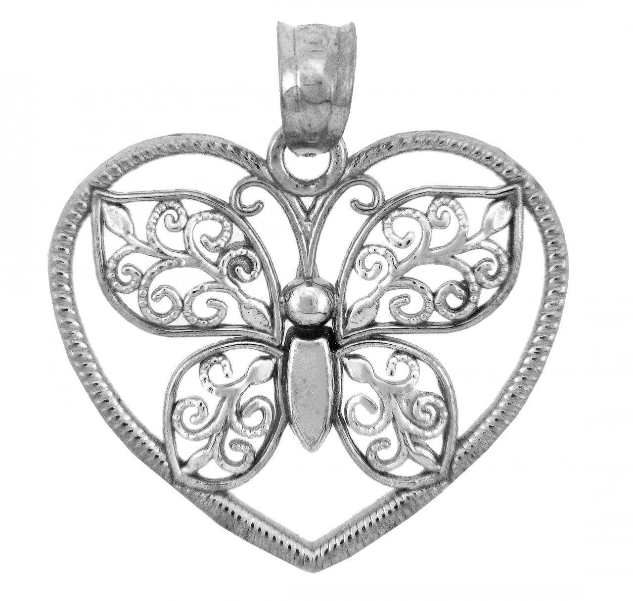 10k White Gold Butterfly in a Heart Pendant. 10K White Gold Butterfly Pendant. Crafted with high quality gold. free gift box with every order. Made in the USA. shipped within 24 hours by the manufacturer to the costumers directly.
