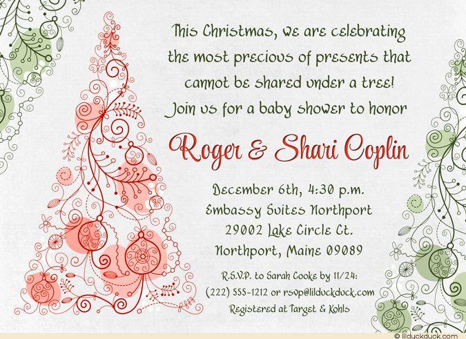 Christmas themed baby shower invitations christmas tree baby anniversary invitations christmas themed baby shower filmwisefo