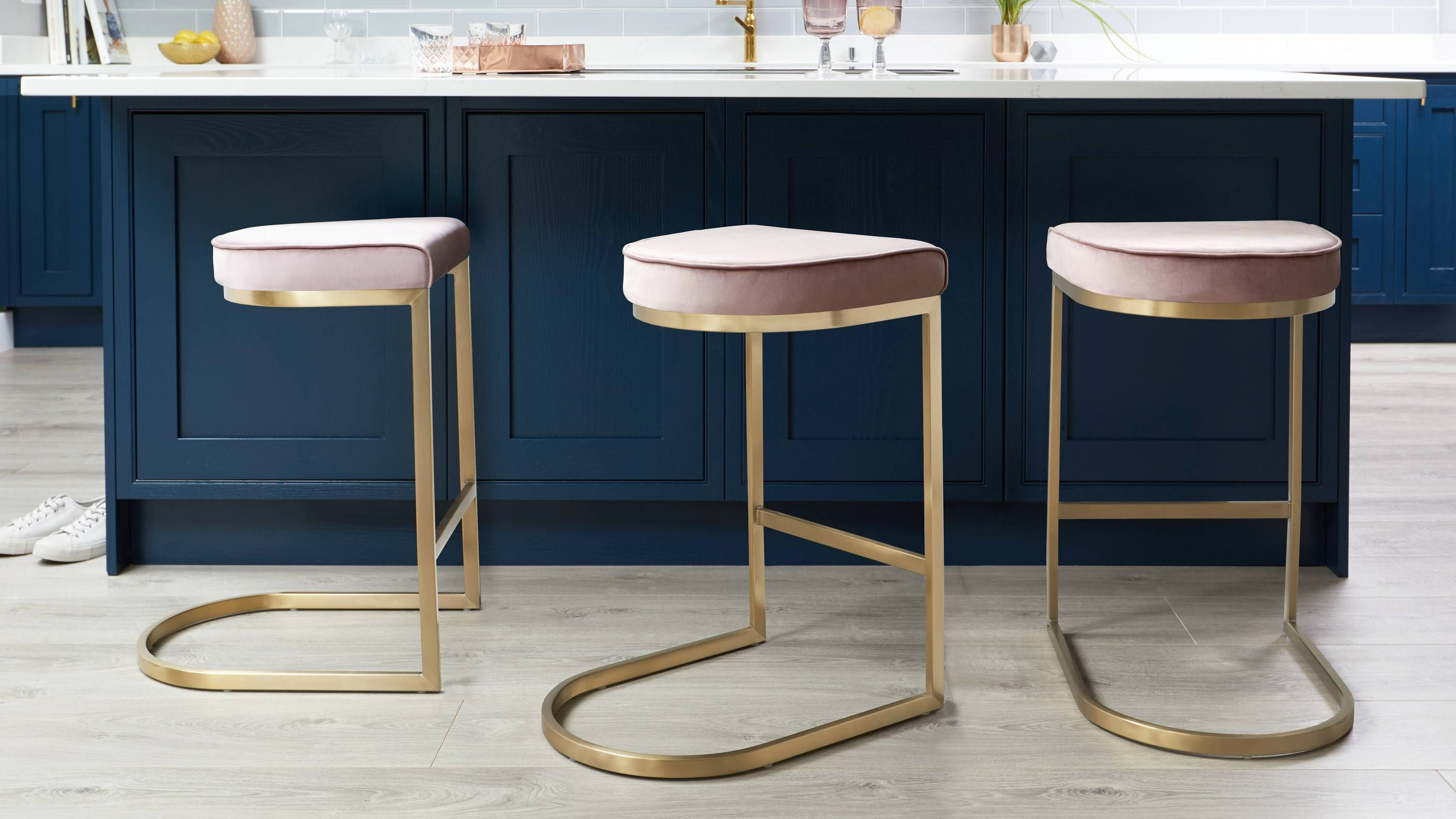 Form Teal Velvet And Brass Bar Stool Bar Stools Designer Bar