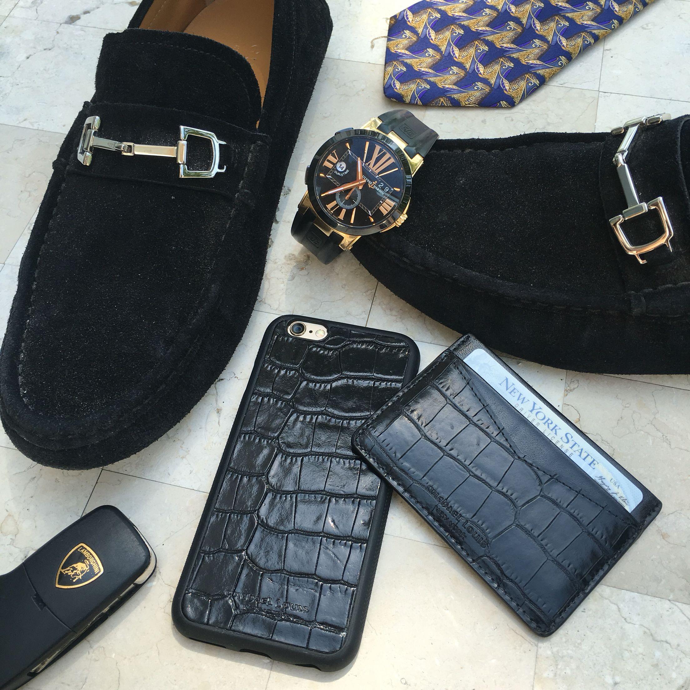 Black croc set iphone case card holder gucci mules