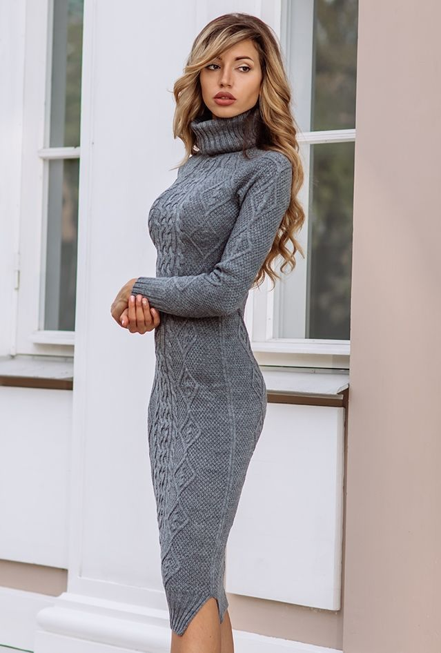 Notitle Source By Davidson3688 The Post Appeared First On How To Be Trendy Knitted Dress Outfit Fashion Dresses Grey Knit Dress