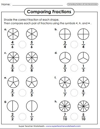 Comparing Fractions Worksheets | Fracciones | Pinterest ...