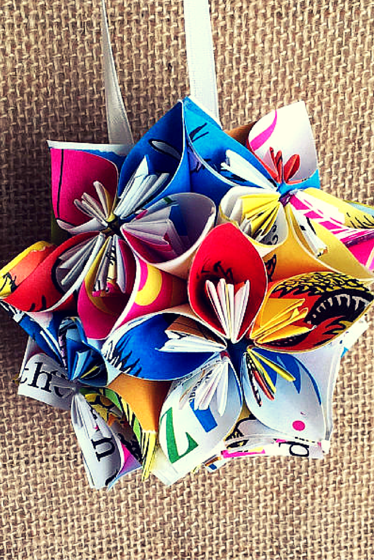 This funky and colorful kusudama flower ball is made from