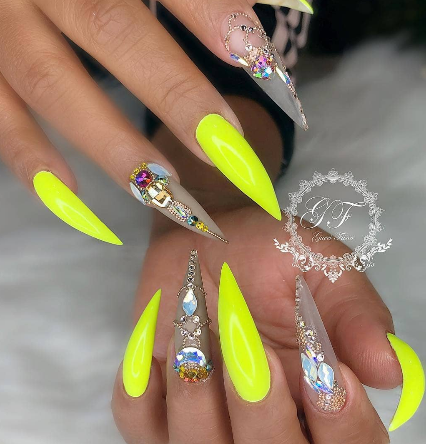 75 Chic Classy Acrylic Stiletto Nails Design You Ll Love Page 72 Of 75 Latest Fashion Trends For Woman Stiletto Nails Designs Diamond Nails Stiletto Nails