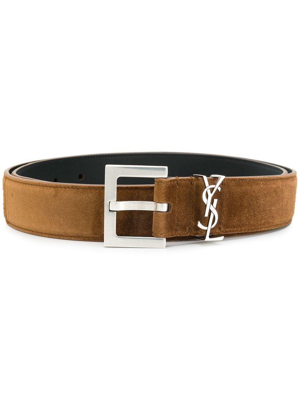 Land Suede Leather Ysl Monogram Belt In Brown Belt Mens