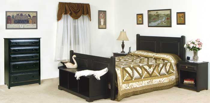 6 Piece Bedroom Set painted in Primitive Heritage Black includes